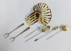 Two Birmingham silver pickle forks, a tortoiseshell hair slide and various hatpins (a lot)