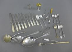 Collection of Epns flatwares, egg cup, cruets, and mother of pearl handled fruit forks, etc (a lot)