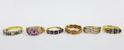 A collection of six 9ct gold gemset dress rings (6)