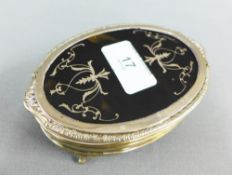 George V silver and tortoiseshell box, Wilson & Sharp, Birmingham 1927, the oval lid with pique