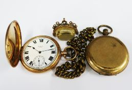 9ct gold Elgin full hunter pocket watch, case numbered 136597, together with a citrine fob in a