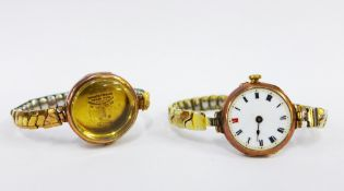 9ct gold watch case, stamped Rolex together with a 9ct gold cased watch (2)