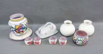 Collection of Poole Pottery to include a pair of white glazed ovoid vases, butte dish, egg cups