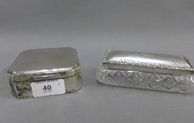 George V silver box with hinged lid and cedar lined, Birmingham 1912, 9cm, together with an