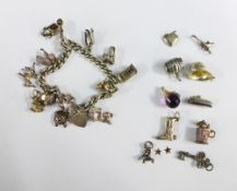 Silver charm bracelet and a quantity of charms (a lot)