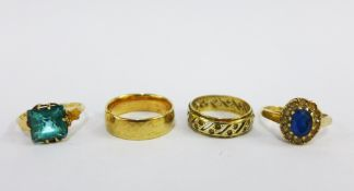 9ct gold wedding band, 9ct gold eternity ring and two 9ct gold gemset rings (4)