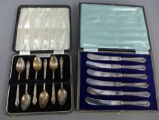 Cased set of six Birmingham silver teaspoons, and six silver handled butter knives (a lot)