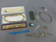 Mixed lot to include white metal bracelet with mother of pearl panels, turquoise brooch, bracelet,