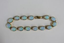 9ct gold and opal bracelet, stamped 375
