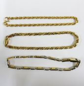 Three 9ct gold bracelets to include two rope twist and one bi-colour bracelet (3)