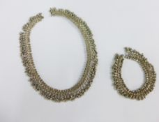 Indian heavy white metal necklace and bracelet (2)