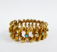 An Edwardian 9ct rose gold bracelet set with turquoise and seed pearls, of expanding design