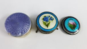 Silver and enamel flower patterned circular box, Birmingham 1911, early 20th century silver and
