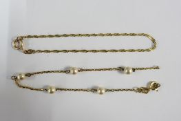 9ct gold chain bracelet and another (2) (one a/f)