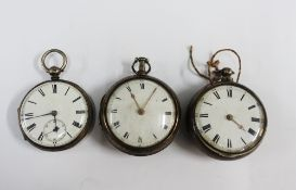 Two 19th century silver pair cased pocket watches and another (3)