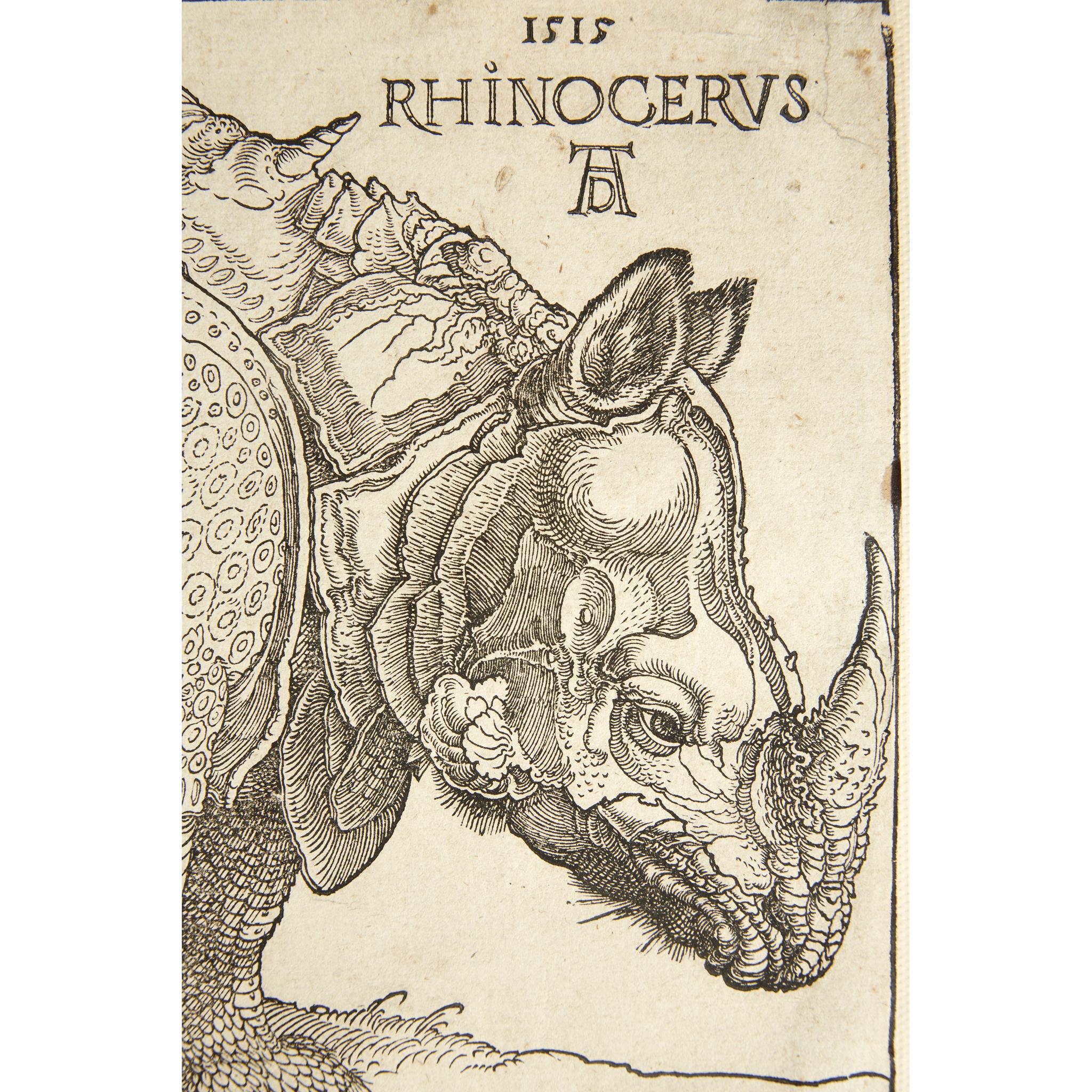 Lot 1 - Albrecht Dürer (German, 1471–1528) The Rhinoceros 1515. Woodcut on paper with a Single-Headed