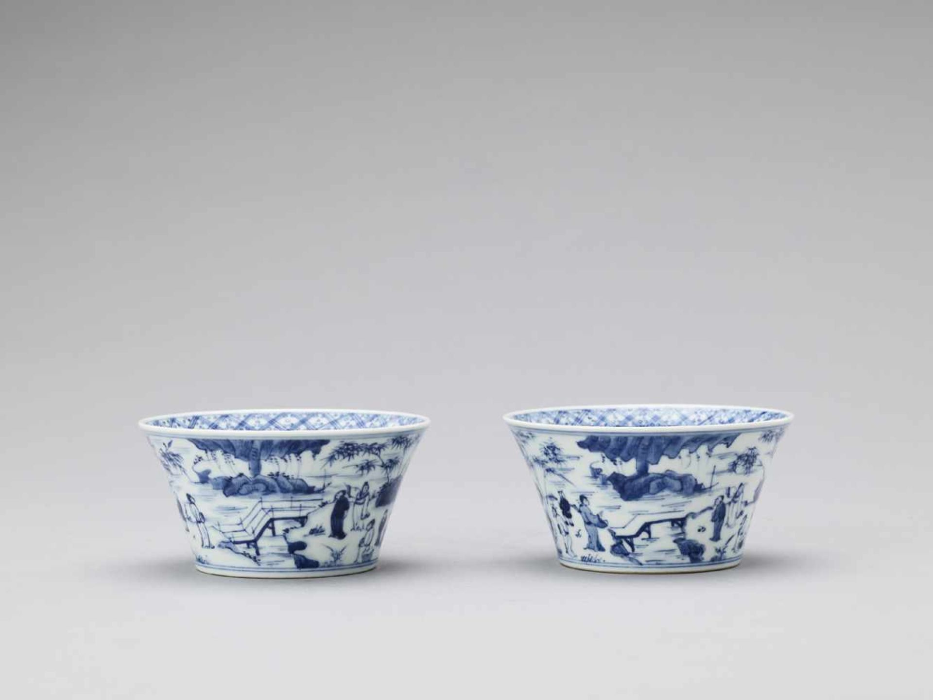 Los 446 - A PAIR OF BLUE AND WHITE PORCELAIN CUPS, REPUBLIC