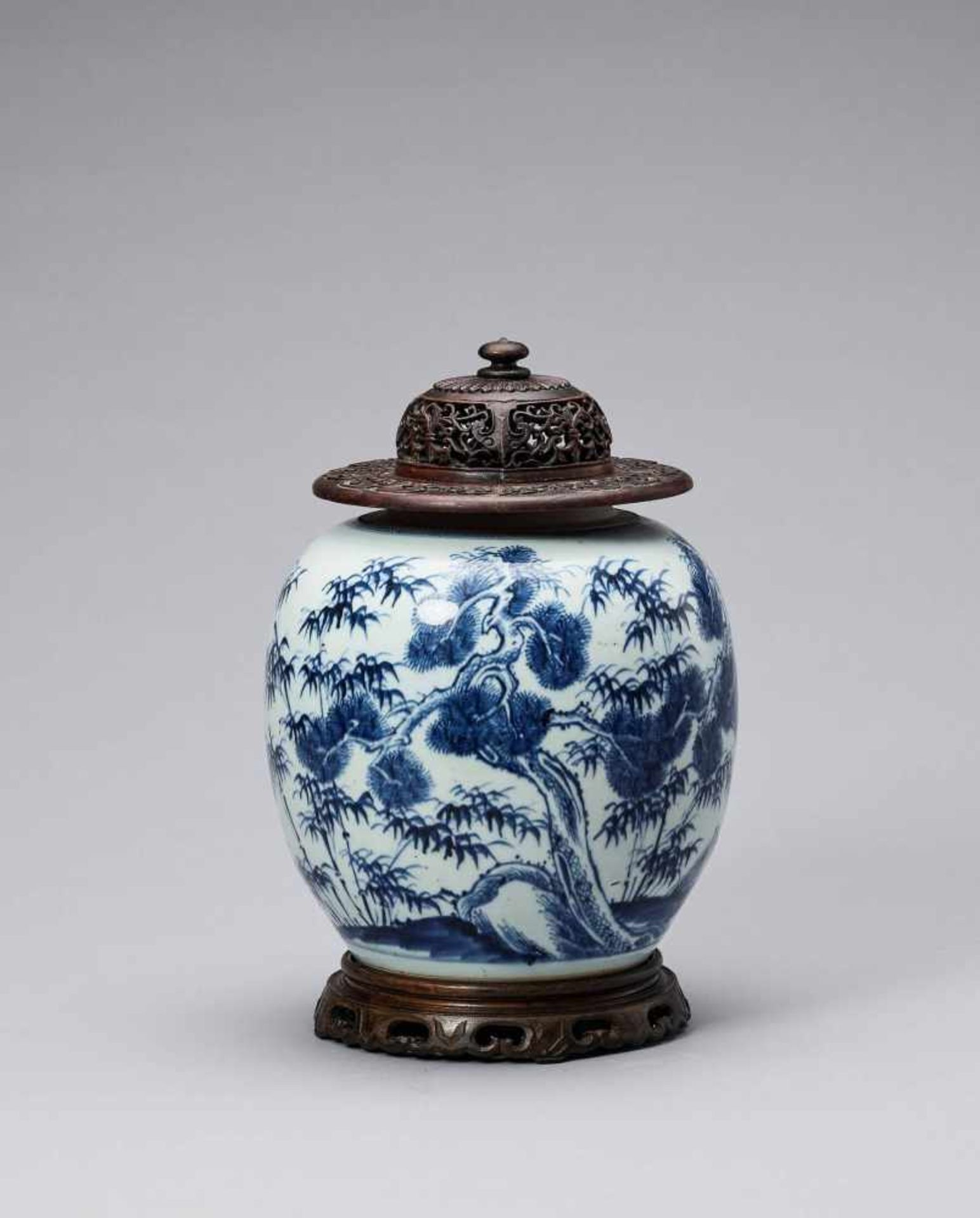 Los 412 - A BLUE AND WHITE GLAZED PORCELAIN 'THREE FRIENDS OF WINTER' GINGER JAR, KANGXI <br