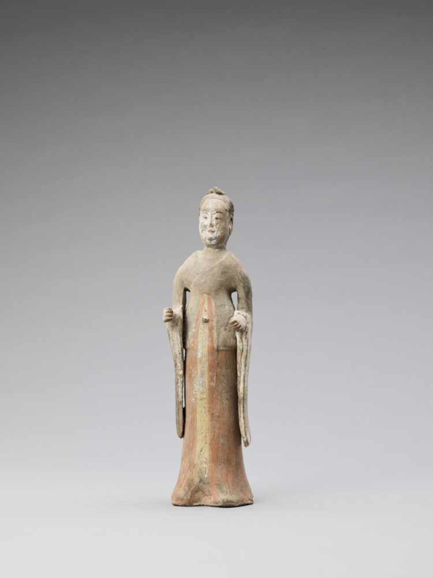 Los 392 - A TL-TESTED TERRACOTTA FIGURE OF A COURT LADY, TANG