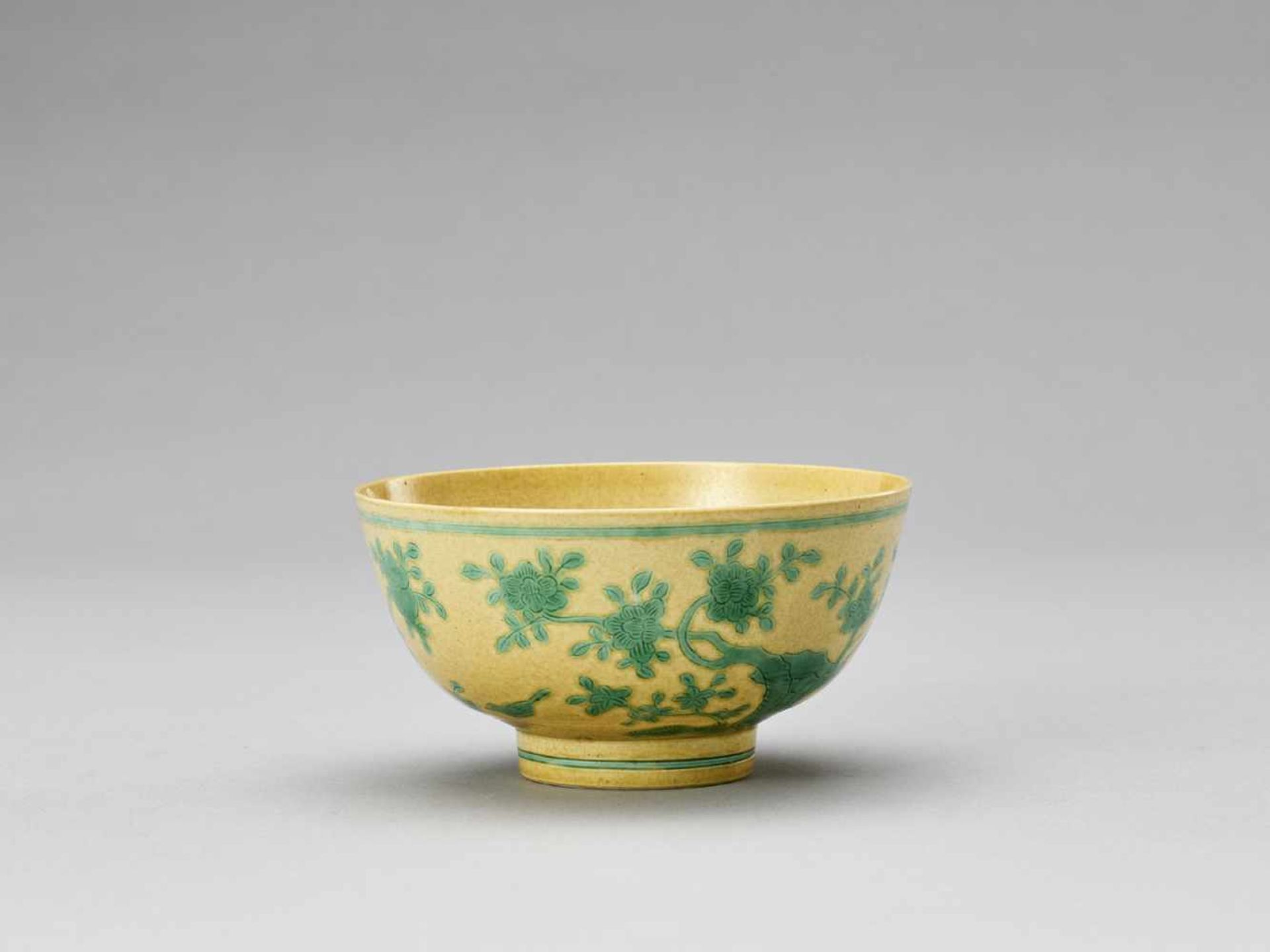 Los 447 - A YELLOW AND GREEN-GLAZED 'PEONIES AND PEACHES' BOWL, REPUBLIC <br