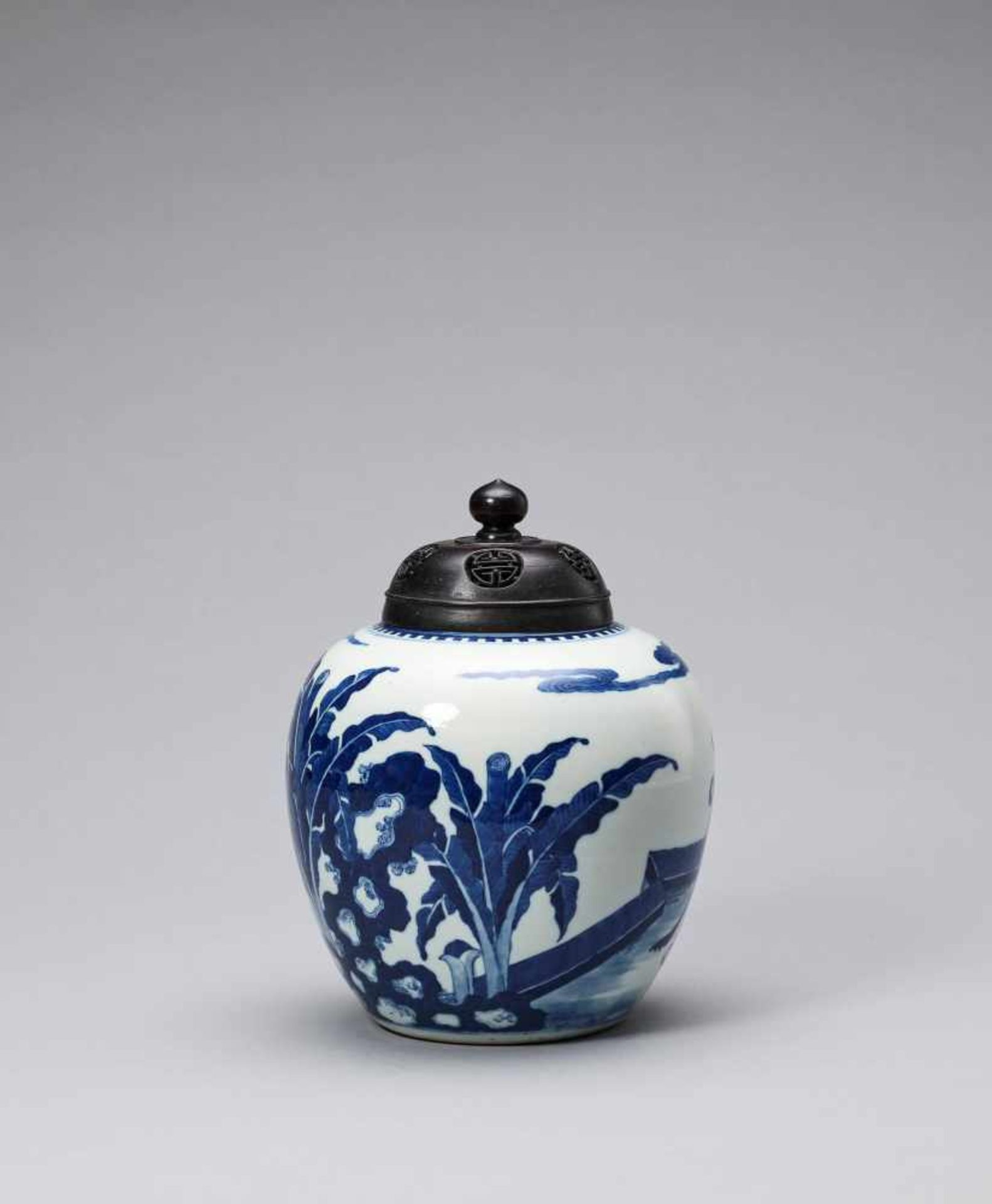 Los 438 - A BLUE AND WHITE GINGER JAR, QING