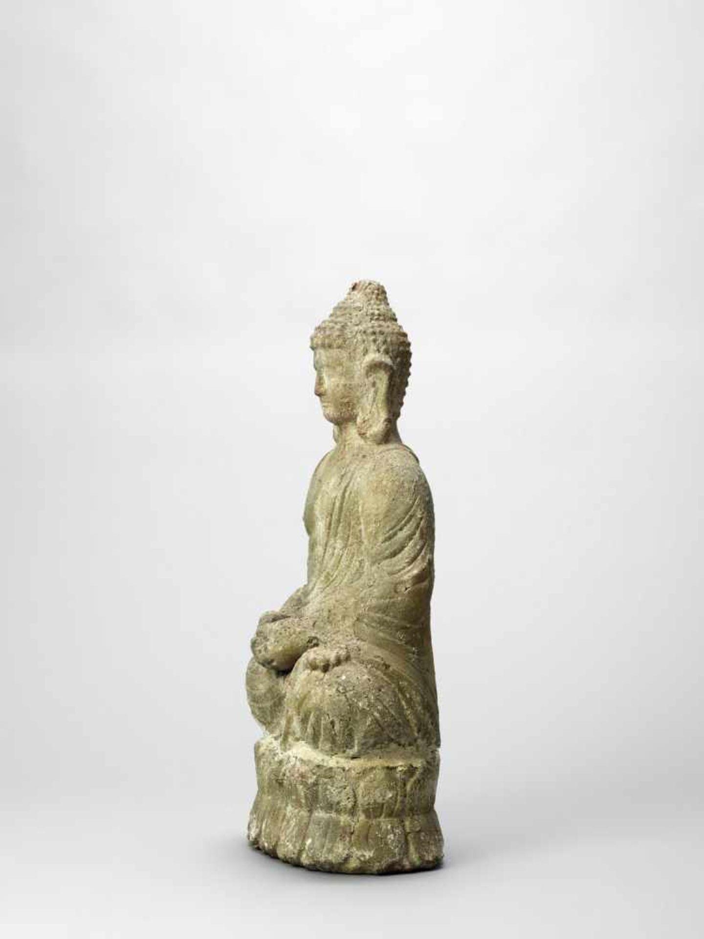 Los 394 - A TERRACOTTA FIGURE OF BUDDHA, 19TH CENTURY