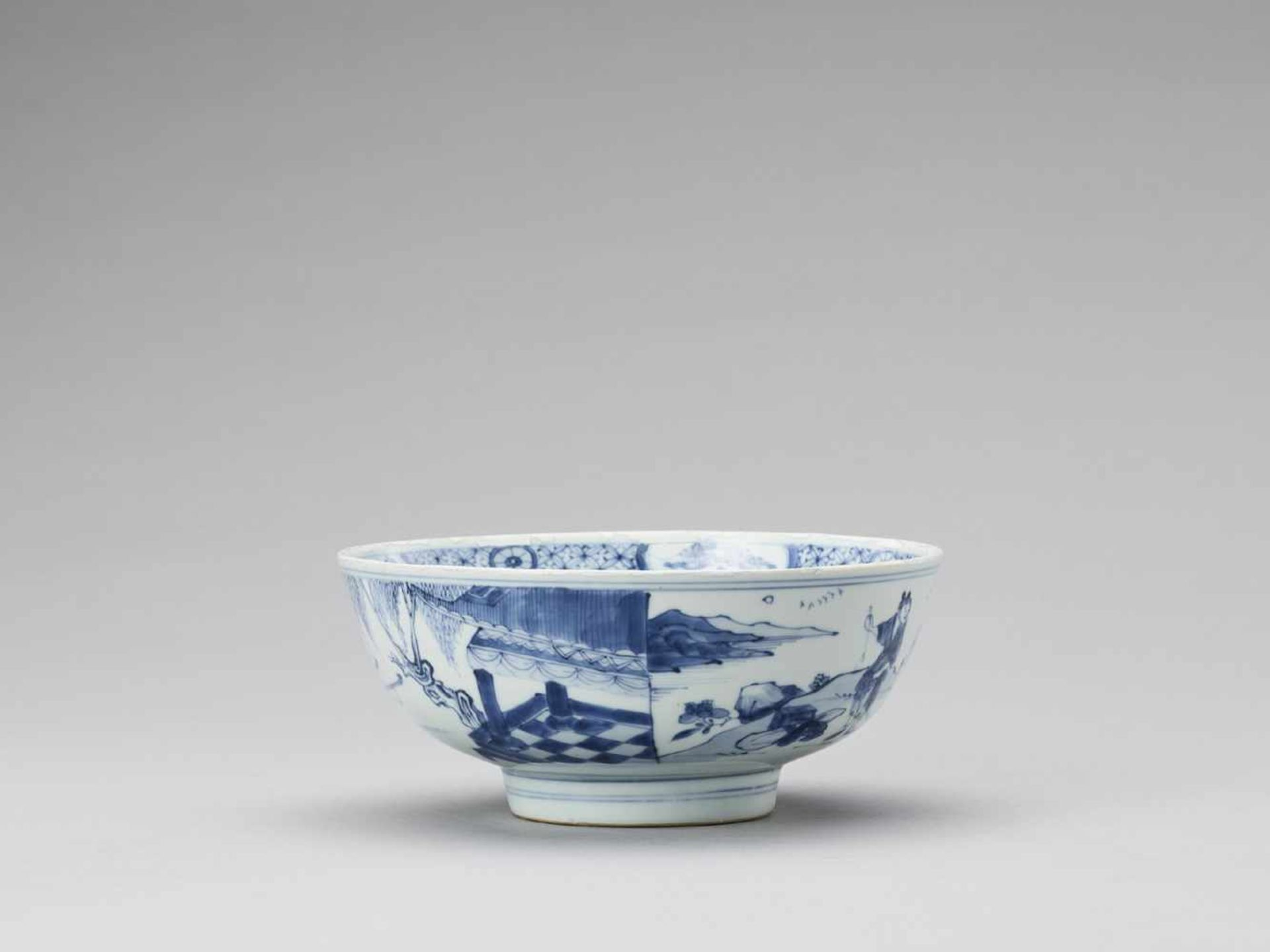 Los 416 - A BLUE AND WHITE PORCELAIN 'ROMANCE OF THE WESTERN CHAMBER' BOWL, KANGXI <br