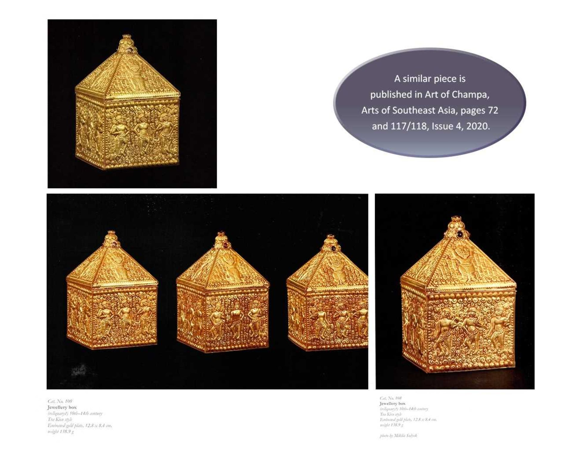 A FINE AND EXTREMELY RARE GEMSTONE-SET CHAM GOLD REPOUSSÉ BOX AND COVER - Bild 5 aus 10