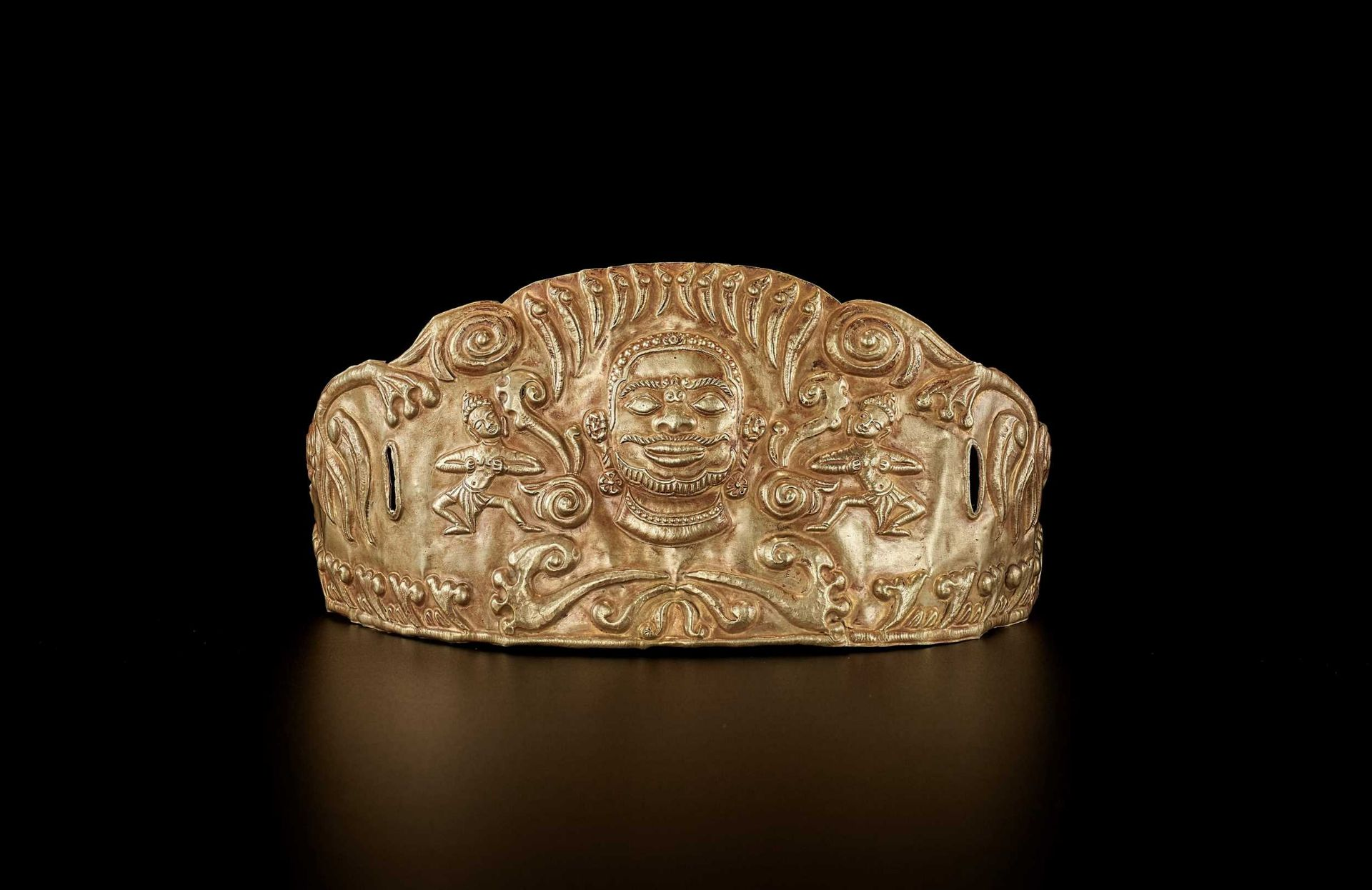 A CHAM GOLD REPOUSSÉ CROWN WIT SHIVA AND DANCING APSARAS