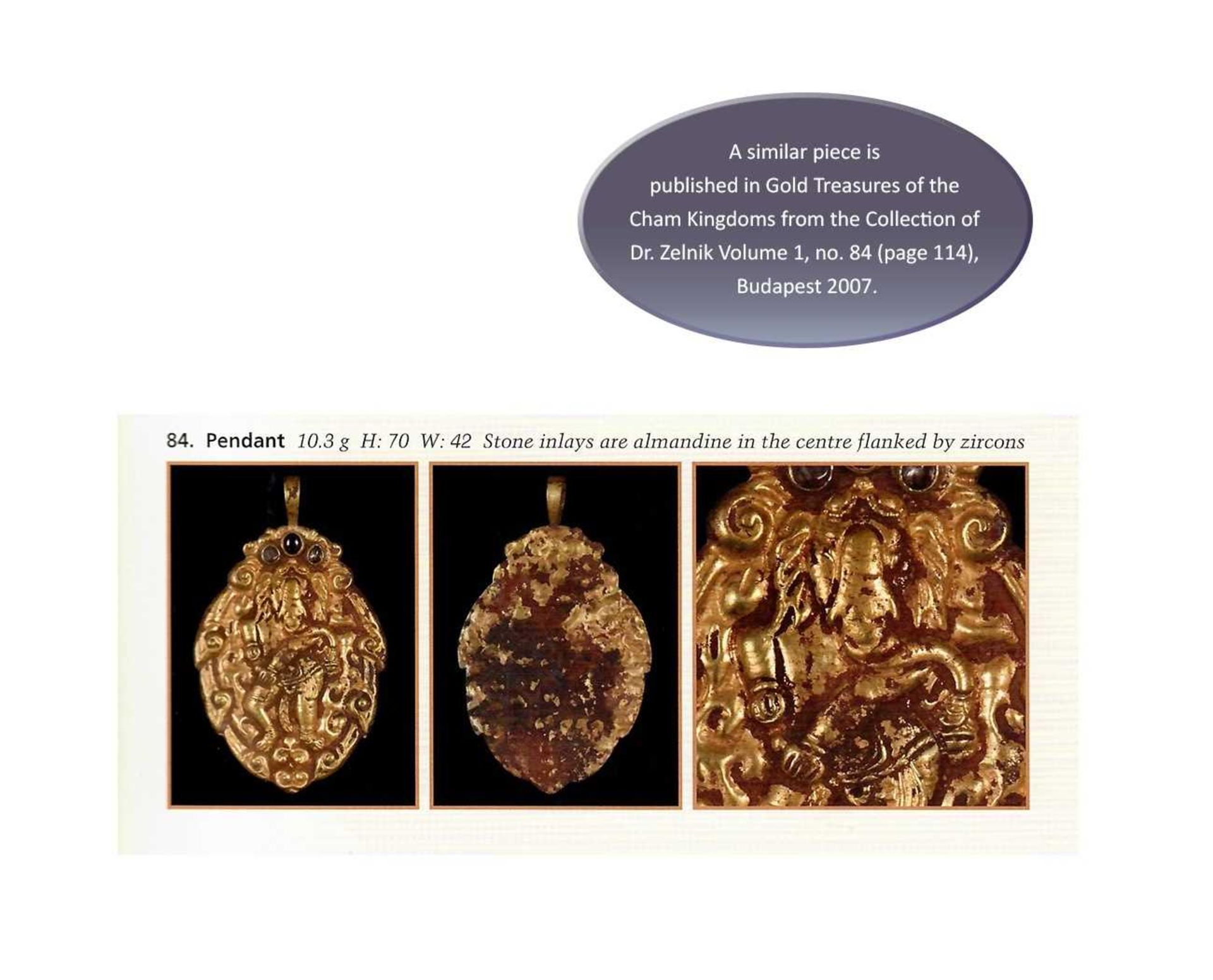 A CHAM GEMSTONE-SET GOLD REPOUSSÉ PENDANT DEPICTING GANESHA - Bild 5 aus 5
