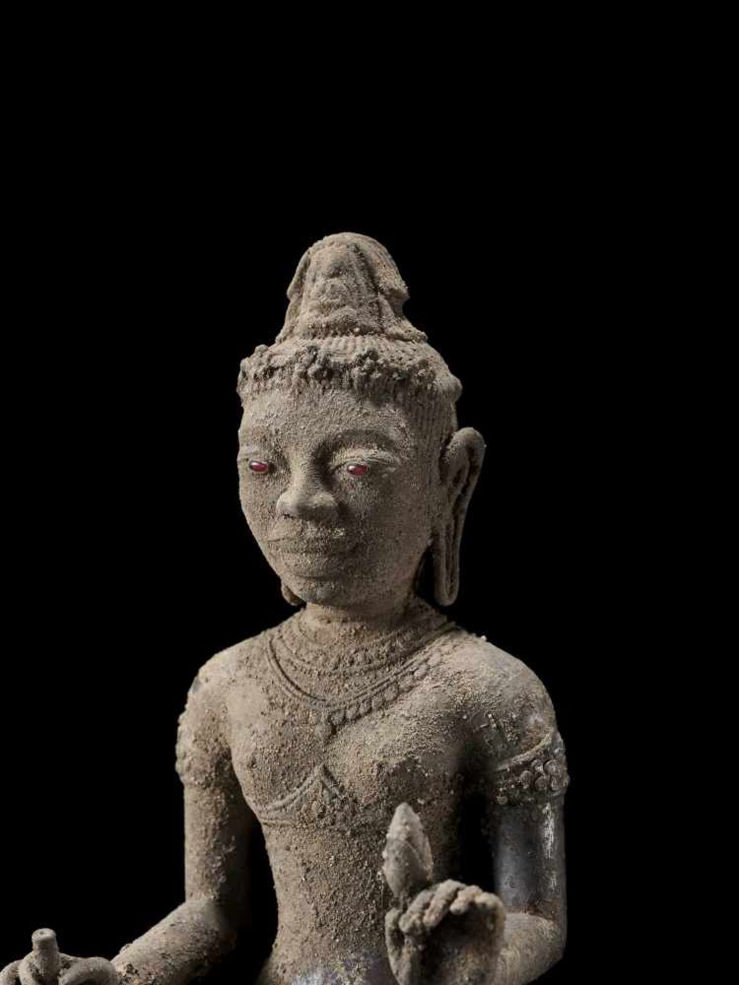 A RARE AND IMPORTANT SILVER ALLOY FIGURE OF AVALOKITESVARA