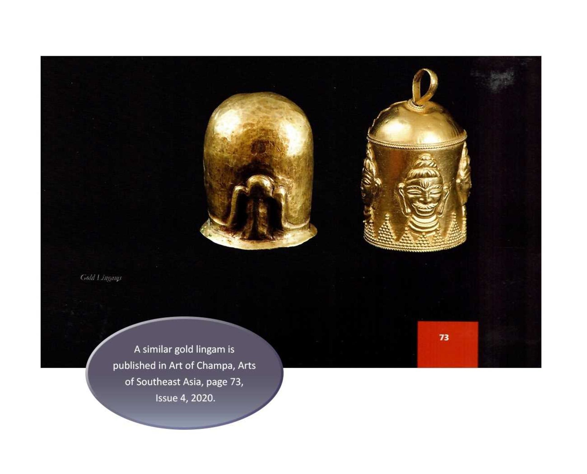 AN EXCEPTIONAL AND RARE CHAM GOLD REPOUSSÉ LINGAM WITH SHIVA'S LOCKS OF HAIR - Bild 3 aus 8