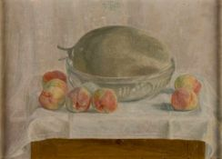 Siegfried von Leth (1883-1914), Peach and melon, Oil on cardboard, monogrammed and dated1910, 36 x