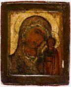 Mother of God Kasanskaya, Russian icon, 18th c., 31 x 25,5 cm, Provenance: 1989 ElsaBloch-Diener;