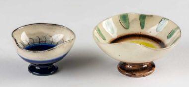 Margrit Linck-Daepp und Jakob Gelzer: Two bowls, circa 1940-50. Ceramic, glazed.Polychrome painting.