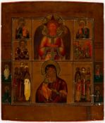 Christ THE BLESSED SILENCE, different motifs of the Mother of God and Saints, Russianicon, around
