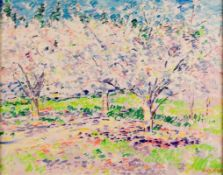 Franco MAZZONI (1928-2006), Flowering orchard, Oil on canvas, signed, 74 x 92,5 cm, frame:107,5 x 89