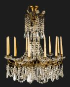 Magnificent electrified chandelier with real candles, brass, faceted crystal glasshanging, 12 flames