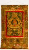 Thangka of Buddha, painting on cloth, Tibet (?), probably 18/19th century, 113 x 70 cm,bad