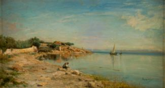 Adolphe APPIAN (1818-1898), At the lake, Oil on canvas, signed, 31 x 55 cm, frame: 45 x 69cm,