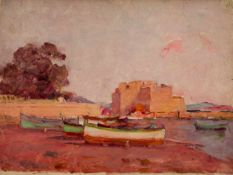 Félix ZIEM (1821-1911), Studio, Boats on the beach, oil on board, verso with stamp''Atelier