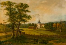 Monumental painting from Johan Fredrik BYGLER (1821-1876), Landscape, oil on canvas,signed, 82 x 118
