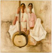 B. PRABHA (1933-2001), Two sisters with sitar, Oil on canvas, signed and dated (19)65, 107x 104