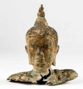 Head of Buddha, Thailand, Bronze, probably: Sukhothai-period, 16th c., 20 x 23 x 8,5 cm,