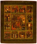 Feastdays, Russian icon, around 1850, 44 x 37 cm, Provenance: Swiss private property.