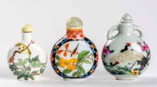 3 SNUFF BOTTLES MIT VOGEL-MOTIVEN