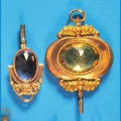 Bundle with 2 golden pocket watch keysKonvolut mit 2 Gold-Taschenuhrschlüsseln, 14 ct., 1 m