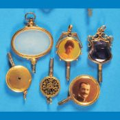 Bundle with 6 pocket watch keys, gold-platedKonvolut mit 6 Taschenuhrschlüsseln, vergoldet,