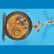 Metal pocket watch with watch chain, ZenithMetalltaschenuhr mit Taschenuhrkette, Zenith, br