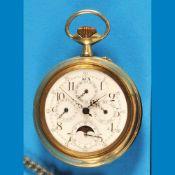 Big nickel pocket watch with astronomic indicationGroße Nickeltaschenuhr mit astronomischen